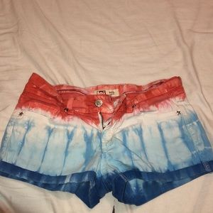 Red white blue tie-dye shorts